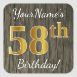 [ Thumbnail: Faux Wood, Faux Gold 58th Birthday + Custom Name Sticker ]