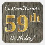 [ Thumbnail: Faux Wood, Faux Gold 59th Birthday + Custom Name Sticker ]