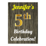 [ Thumbnail: Faux Wood, Faux Gold 5th Birthday Celebration Invitation ]