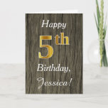 [ Thumbnail: Faux Wood, Faux Gold 5th Birthday + Custom Name Card ]