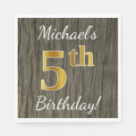 [ Thumbnail: Faux Wood, Faux Gold 5th Birthday + Custom Name Paper Napkin ]