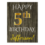 [ Thumbnail: Faux Wood, Faux Gold 5th Birthday + Custom Name Postcard ]