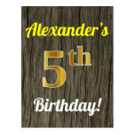 [ Thumbnail: Faux Wood, Faux Gold 5th Birthday & Custom Name Postcard ]
