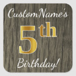 [ Thumbnail: Faux Wood, Faux Gold 5th Birthday + Custom Name Sticker ]