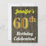 [ Thumbnail: Faux Wood, Faux Gold 60th Birthday Celebration Invitation ]
