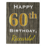 [ Thumbnail: Faux Wood, Faux Gold 60th Birthday + Custom Name Jigsaw Puzzle ]