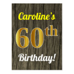 [ Thumbnail: Faux Wood, Faux Gold 60th Birthday & Custom Name Postcard ]