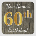 [ Thumbnail: Faux Wood, Faux Gold 60th Birthday + Custom Name Sticker ]