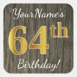 [ Thumbnail: Faux Wood, Faux Gold 64th Birthday + Custom Name Sticker ]