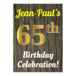 [ Thumbnail: Faux Wood, Faux Gold 65th Birthday Celebration Invitation ]