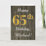 [ Thumbnail: Faux Wood, Faux Gold 65th Birthday + Custom Name Card ]