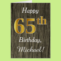 Faux Wood, Faux Gold 65th Birthday   Custom Name Card
