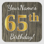[ Thumbnail: Faux Wood, Faux Gold 65th Birthday + Custom Name Sticker ]