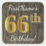 [ Thumbnail: Faux Wood, Faux Gold 66th Birthday + Custom Name Sticker ]