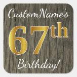 [ Thumbnail: Faux Wood, Faux Gold 67th Birthday + Custom Name Sticker ]