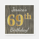 [ Thumbnail: Faux Wood, Faux Gold 69th Birthday + Custom Name Napkin ]