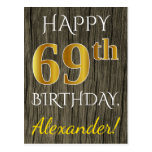 [ Thumbnail: Faux Wood, Faux Gold 69th Birthday + Custom Name Postcard ]