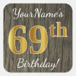 [ Thumbnail: Faux Wood, Faux Gold 69th Birthday + Custom Name Sticker ]