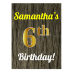 [ Thumbnail: Faux Wood, Faux Gold 6th Birthday & Custom Name Postcard ]