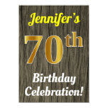 [ Thumbnail: Faux Wood, Faux Gold 70th Birthday Celebration Invitation ]