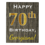 [ Thumbnail: Faux Wood, Faux Gold 70th Birthday + Custom Name Jigsaw Puzzle ]