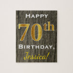 "Faux Wood, Faux Gold 70th Birthday   Custom Name Jigsaw Puzzle<br><div class=""desc"">This simple puzzle design features the message &quot;Happy 70th Birthday&quot;,  with the &quot;70th&quot; having a faux gold-like appearance. It also features a customized name,  and a faux wood appearance background. It could be given to somebody who is celebrating their seventieth birthday.</div>"
