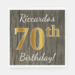[ Thumbnail: Faux Wood, Faux Gold 70th Birthday + Custom Name Paper Napkin ]