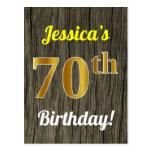 [ Thumbnail: Faux Wood, Faux Gold 70th Birthday & Custom Name Postcard ]