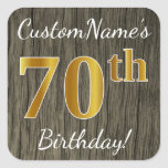 [ Thumbnail: Faux Wood, Faux Gold 70th Birthday + Custom Name Sticker ]
