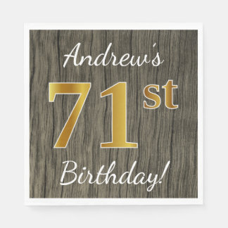 Faux Wood, Faux Gold 71st Birthday + Custom Name Napkin