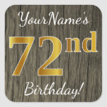 [ Thumbnail: Faux Wood, Faux Gold 72nd Birthday + Custom Name Sticker ]