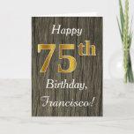 [ Thumbnail: Faux Wood, Faux Gold 75th Birthday + Custom Name Card ]