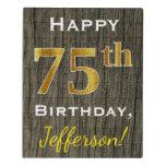 [ Thumbnail: Faux Wood, Faux Gold 75th Birthday + Custom Name Jigsaw Puzzle ]