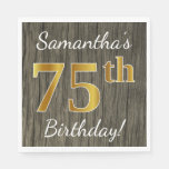 [ Thumbnail: Faux Wood, Faux Gold 75th Birthday + Custom Name Napkin ]