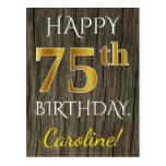 [ Thumbnail: Faux Wood, Faux Gold 75th Birthday + Custom Name Postcard ]