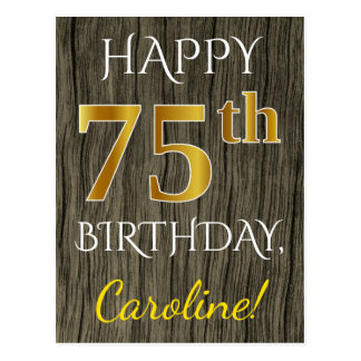 Faux Wood, Faux Gold 75th Birthday + Custom Name Postcard