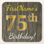 [ Thumbnail: Faux Wood, Faux Gold 75th Birthday + Custom Name Paper Coaster ]