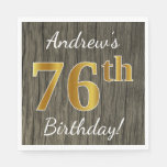 [ Thumbnail: Faux Wood, Faux Gold 76th Birthday + Custom Name Napkin ]