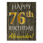 [ Thumbnail: Faux Wood, Faux Gold 76th Birthday + Custom Name Postcard ]