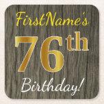 [ Thumbnail: Faux Wood, Faux Gold 76th Birthday + Custom Name Paper Coaster ]