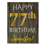 [ Thumbnail: Faux Wood, Faux Gold 77th Birthday + Custom Name Postcard ]