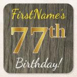 [ Thumbnail: Faux Wood, Faux Gold 77th Birthday + Custom Name Paper Coaster ]