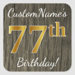 [ Thumbnail: Faux Wood, Faux Gold 77th Birthday + Custom Name Sticker ]
