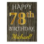 [ Thumbnail: Faux Wood, Faux Gold 78th Birthday + Custom Name Postcard ]
