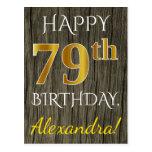 [ Thumbnail: Faux Wood, Faux Gold 79th Birthday + Custom Name Postcard ]
