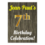 [ Thumbnail: Faux Wood, Faux Gold 7th Birthday Celebration Invitation ]