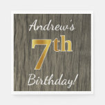 [ Thumbnail: Faux Wood, Faux Gold 7th Birthday + Custom Name Paper Napkin ]