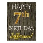 [ Thumbnail: Faux Wood, Faux Gold 7th Birthday + Custom Name Postcard ]