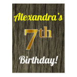 [ Thumbnail: Faux Wood, Faux Gold 7th Birthday & Custom Name Postcard ]