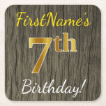 [ Thumbnail: Faux Wood, Faux Gold 7th Birthday + Custom Name Paper Coaster ]